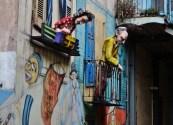 Colorful mannequins adorn the narrow streets of La Boca