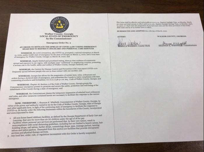 Walker County Emergency Order No-2