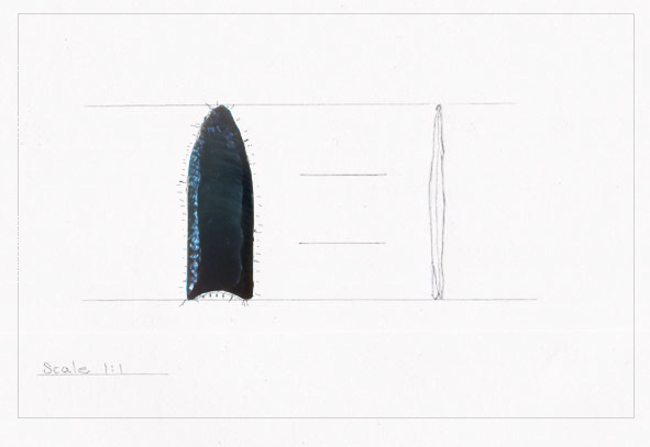 Fluted point pencil outline and tick marks