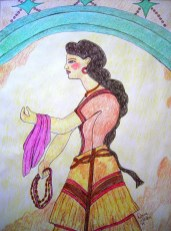 """""""House of the Ladies"""" in Akrotiri on Thera. Fresco of a Minoan woman illustrated in Prismacolor."""