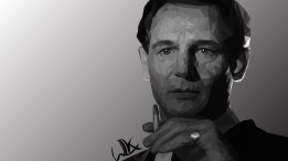 Low poly portrait of Liam Neeson as Oskar Schindler in Shindler's List, May 2017