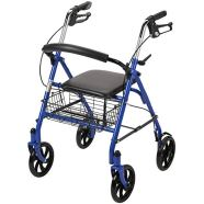 Drive Medical Four Wheel Walker Rollator with Fold up Removable Back Support