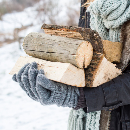 Winter log carrying