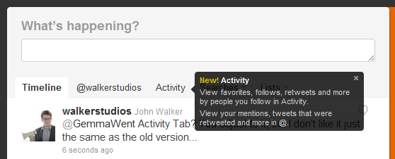 The Twitter Activity Tab (1/6)