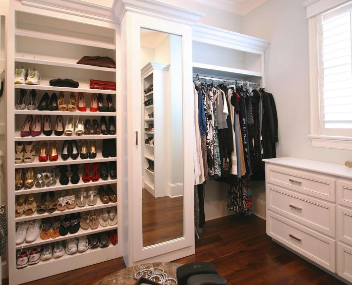 shoe storage,full length mirror,dressing room,custom closets,classic white