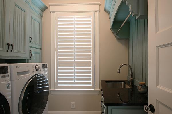 blue laundry cabinets