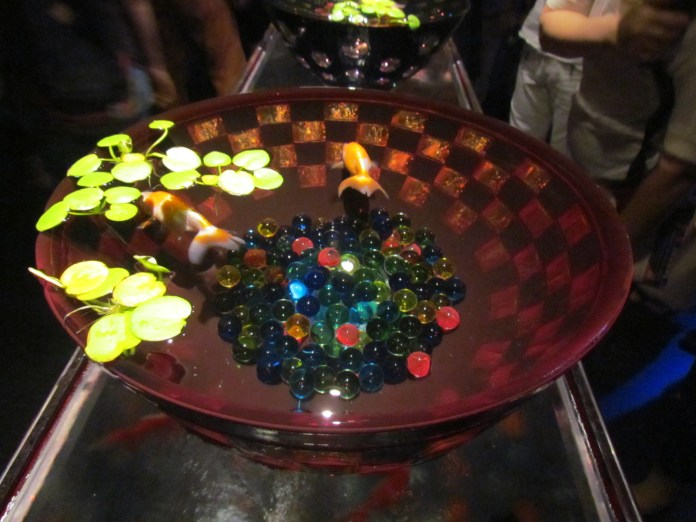 Goldfish bowl of faceted glass work