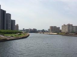 from Senju Shioiri Ohashi Buridge looking at the Sumida River