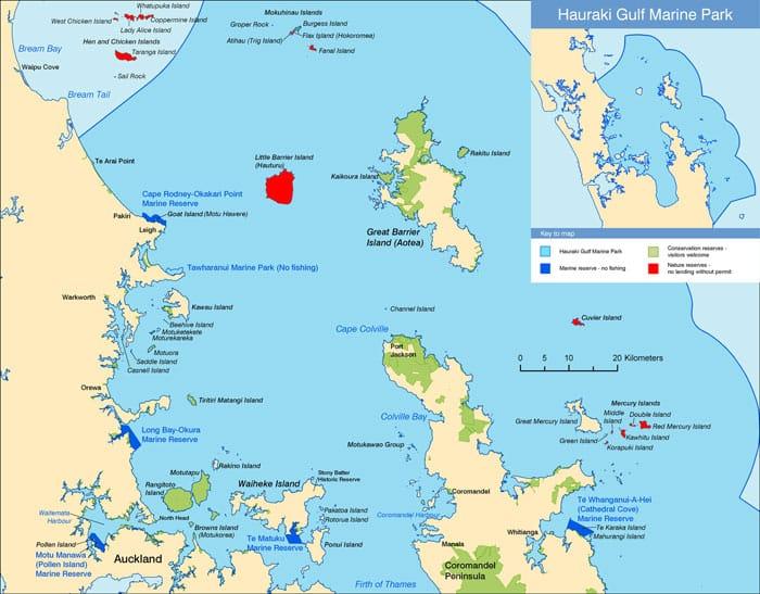 Map of Hauraki Gulf Marine Park