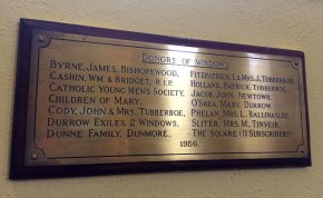 Plaque inside the Church of the Holy Trinity, Durrow, Co. Laois.