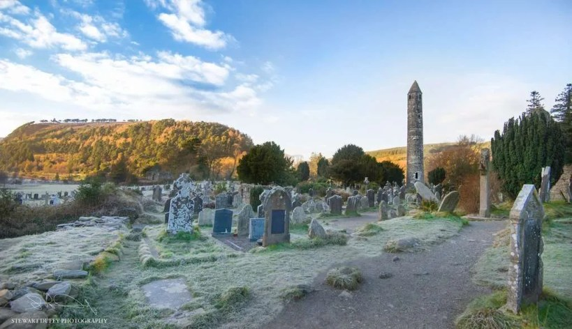 Round tower and graveyard in Glendalough, Wicklow National Park