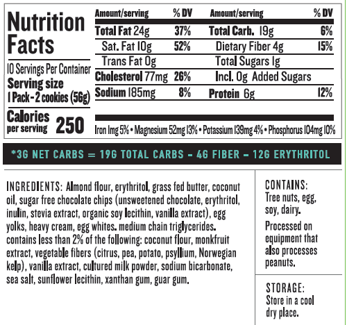 Nui Chocolate Chip Cookie Nutrition