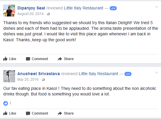 reveiw of little italy cafe kasol