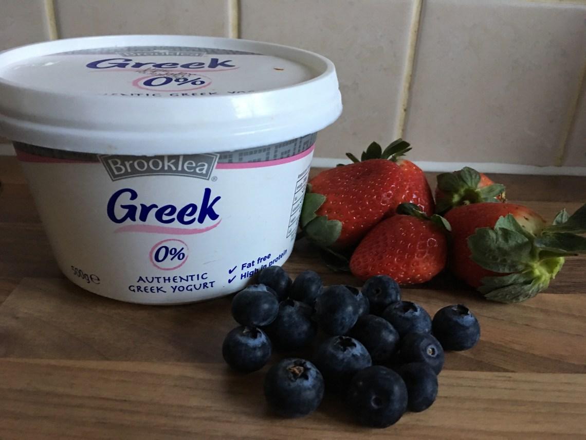 Greek Yogurt, Strawberries, Blueberries