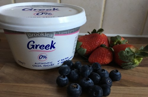 Greek Yogurt, Strawberries, Blueberries