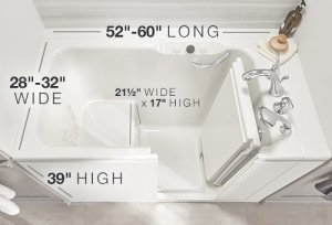 walk in tub size guide