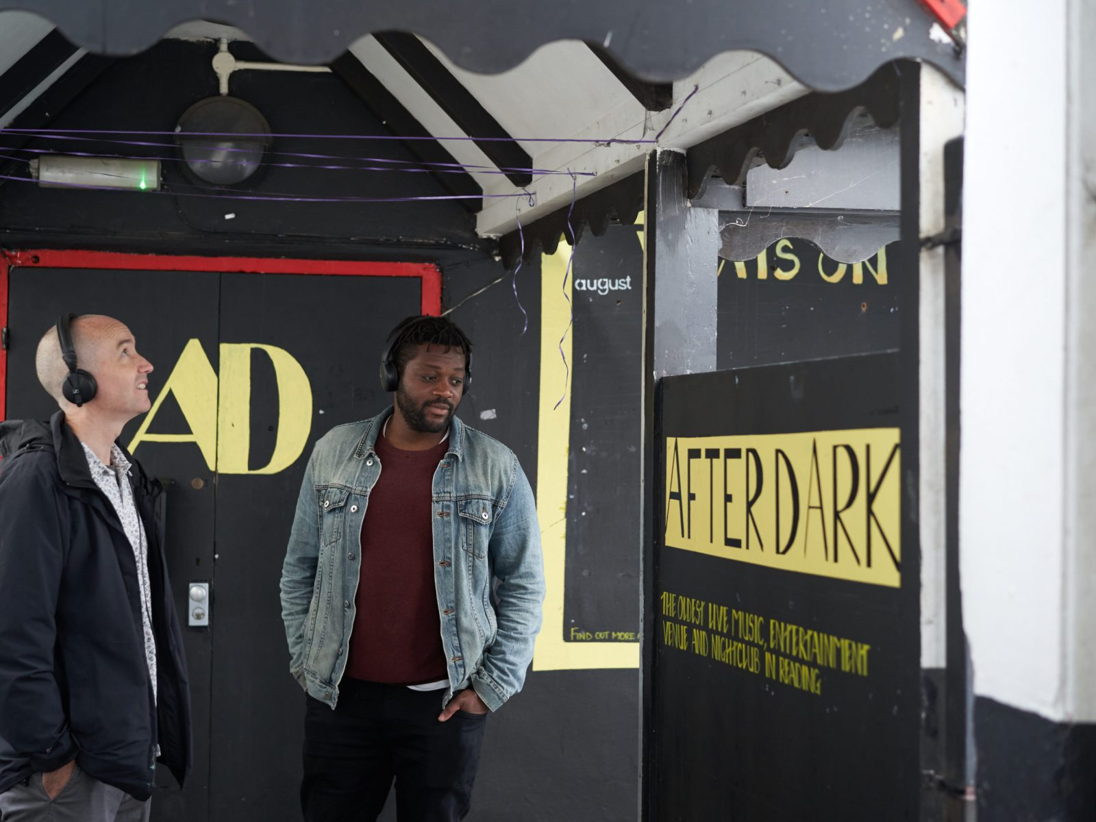 Sound artists Aundre Goddard and Richard Bentley outside the old After Dark Club, London Street.
