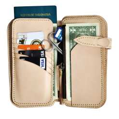 long wallet for men with vegetable tanned leather