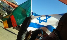 The Flag of Zambia and the Flag of Israel were present throughout the march