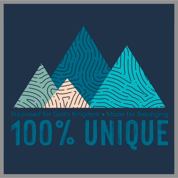 t-shirt graphic with fingerprint mountain scene and message 100% Unique, Purposed for God's Kingdom, Made for Belonging
