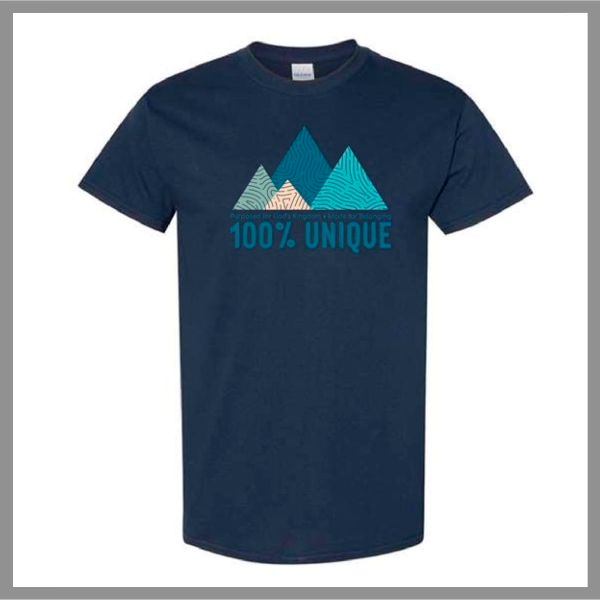 t-shirt with fingerprint mountain graphic and message 100% Unique, Purposed for God's Kingdom, Made for Belonging