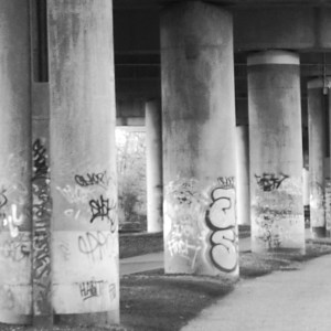 Our very own black & white photo of part of the underneath side of Spaghetti Junction!