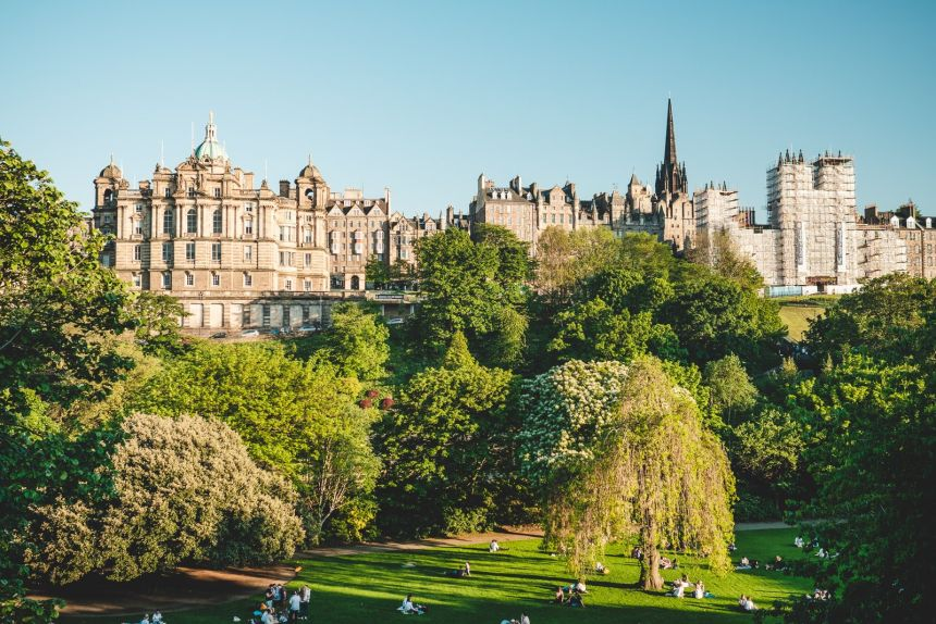 Edinburgh Princes Street Gardens and City