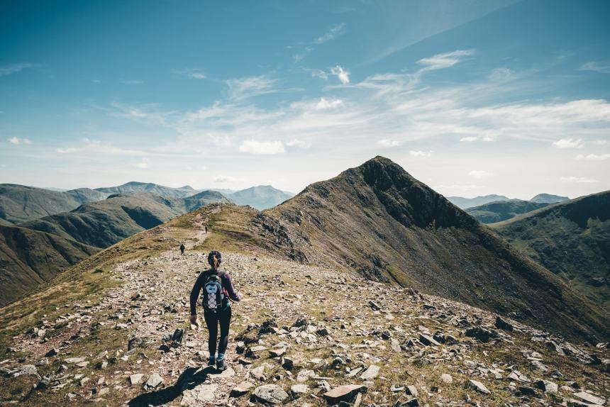 Scotland Glencoe Anna Hiking Along Ridgeline