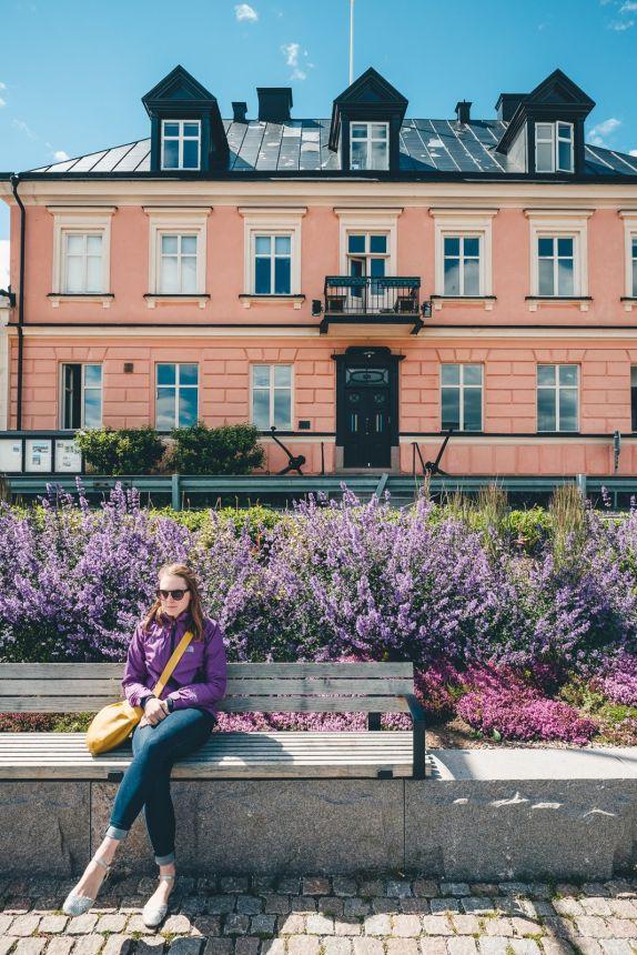 Stockholm Archipelago Vaxholm Lavender Pink Building