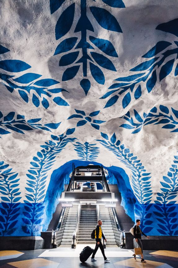 Stockholm T Centralen Metro Station Art Escalator