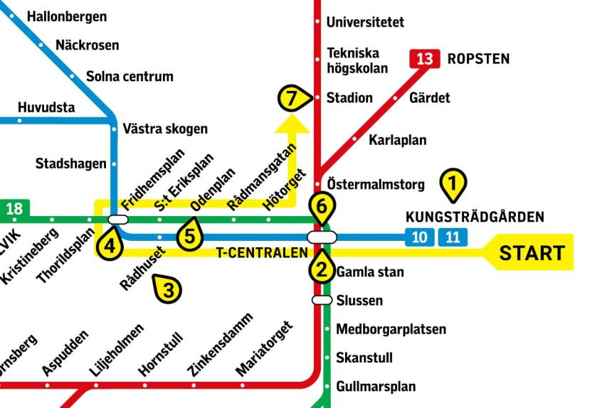 The 5 Most Amazing Stockholm Metro Stations Subway Art Tour Map
