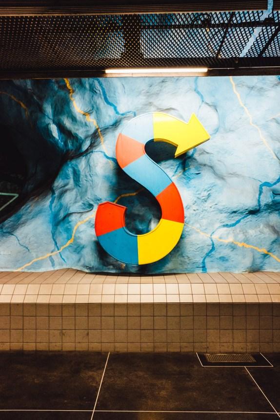 Stockholm Stadion Metro Station Art Colorful Letter
