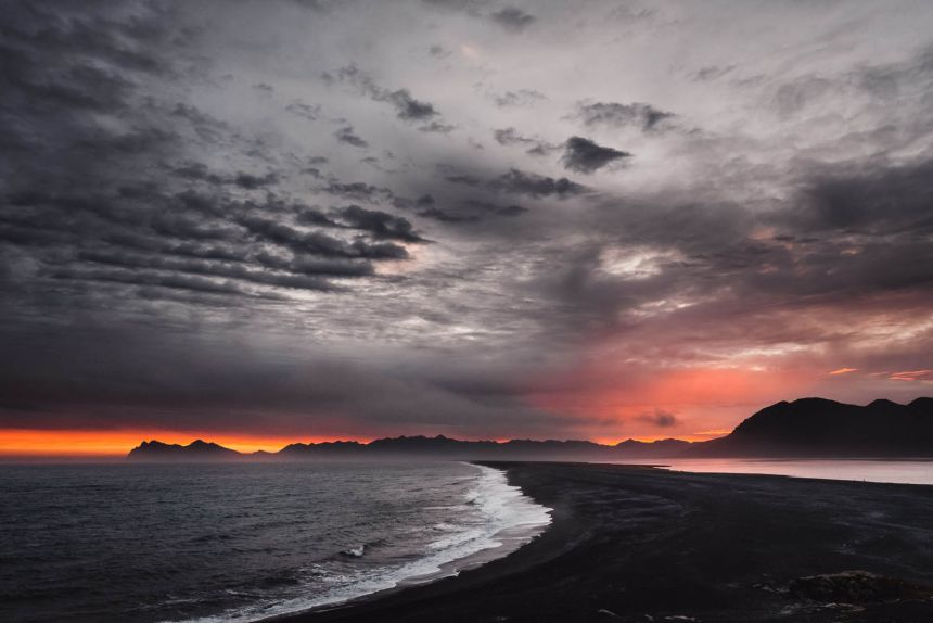 Iceland East Roadtrip Hvalnes Nature Reserve Epic Sunset Mountains Silhouette