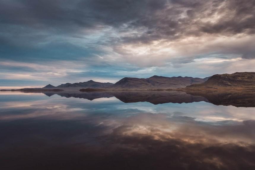 Iceland East Roadtrip Mirror Fjord Sunset