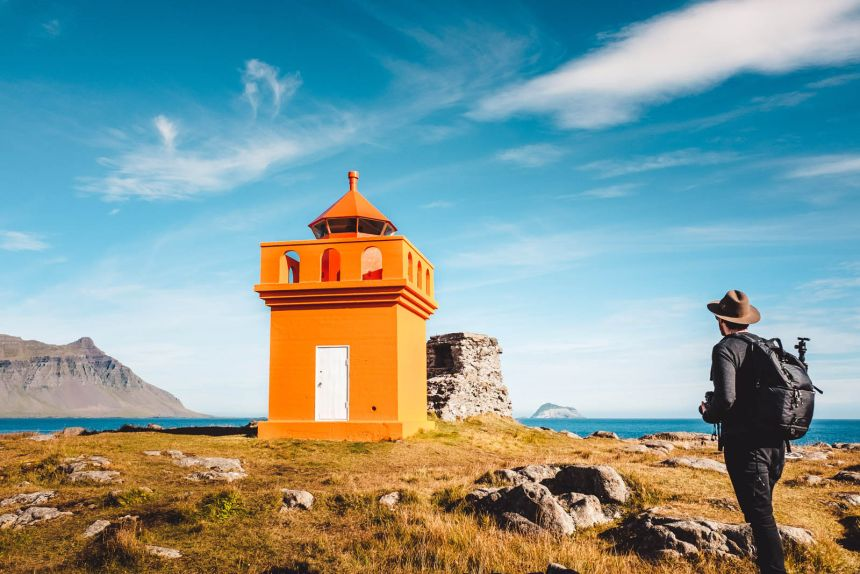 Iceland East Vattarnes Orange Lighthouse Blue Sky
