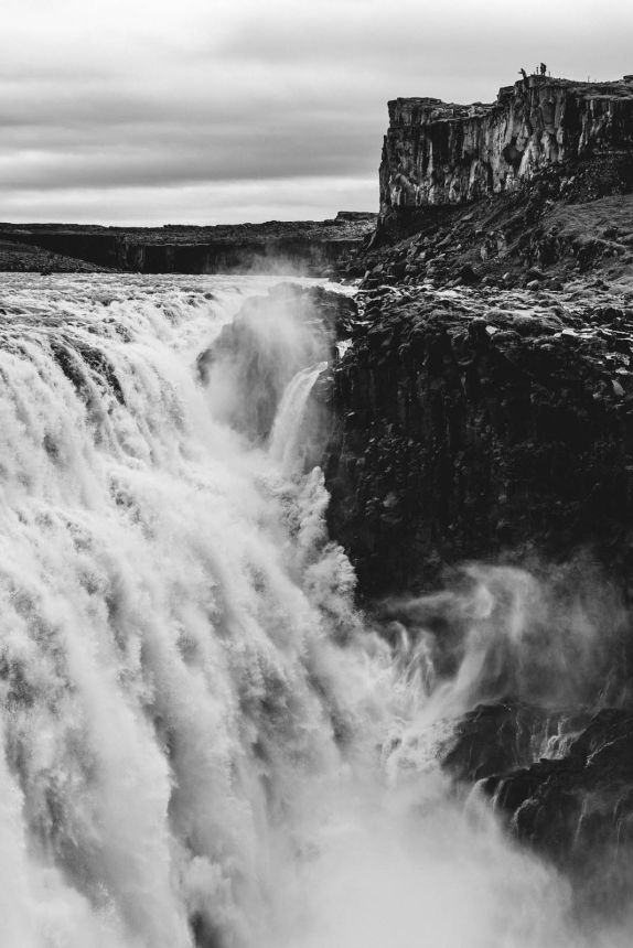 Iceland North Dettifoss Portrait Black White Mist Cliff