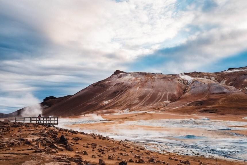 Iceland North Hverir Landscape Viewing Deck Red Mountains