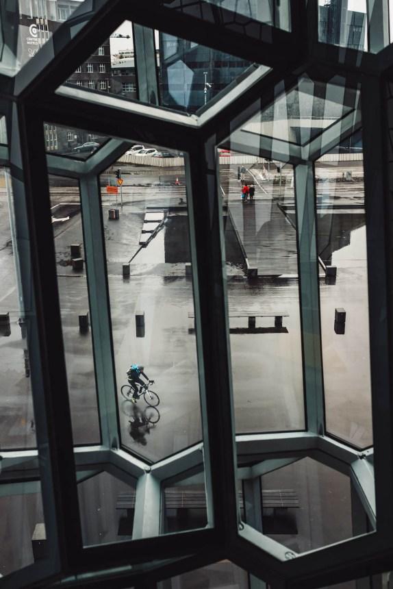 Iceland Reykjavik Harpa Window Cyclist