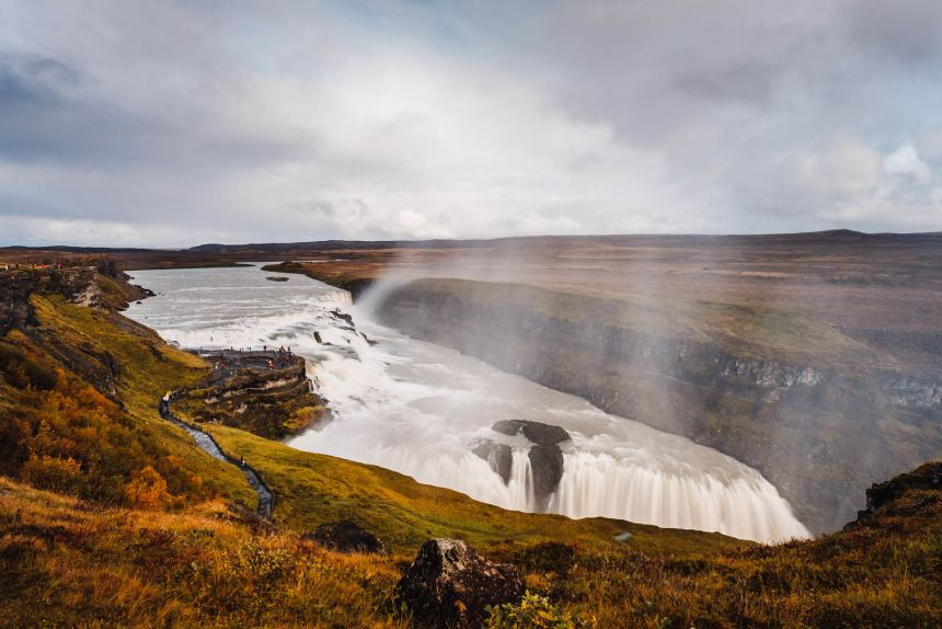 Iceland South Gullfoss Landscape Cliffs