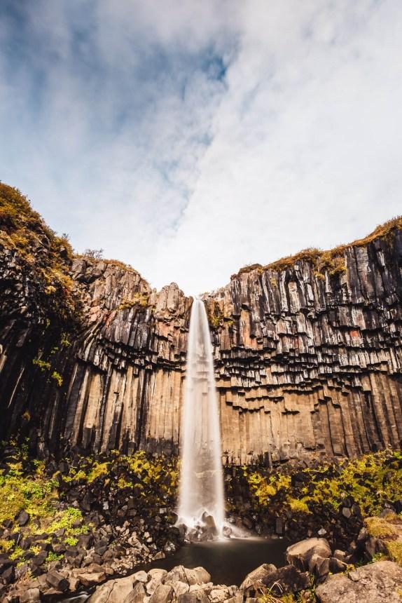 Iceland South Svartifoss Portrait Cliffs