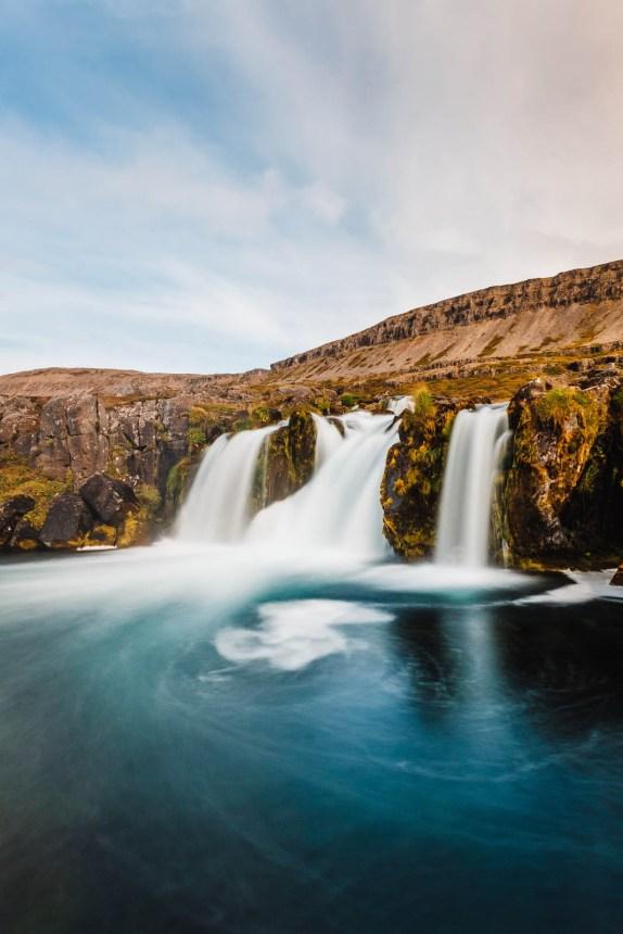 Iceland Westfjords Dynjandi Portrait Lower Falls