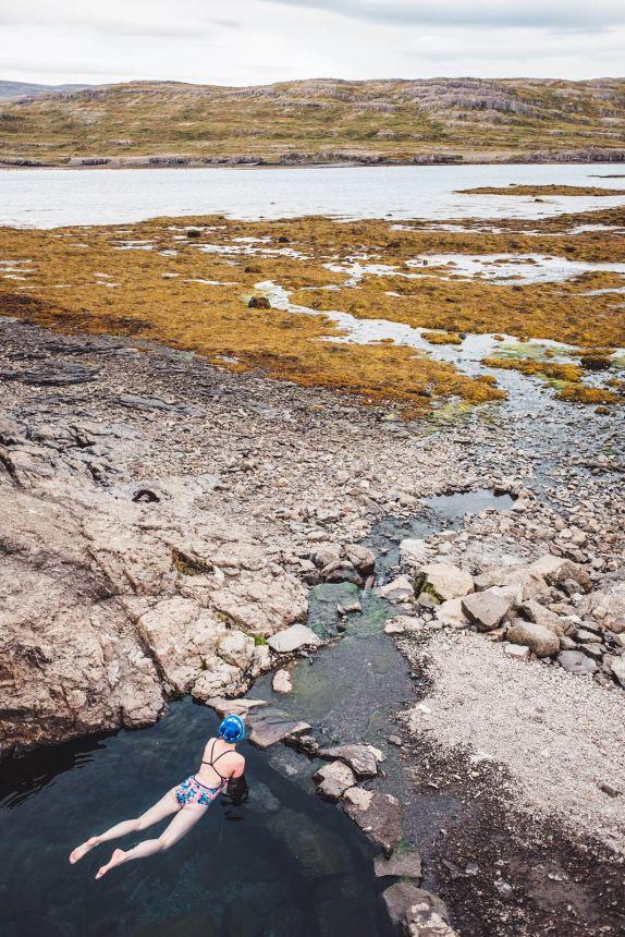 Iceland Westfjords Hotpot Hellulaug Portrait Fjord