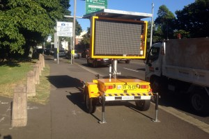 Electronic sign on Moore Park Rd footpath