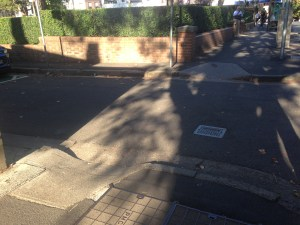 Narrow kerb cut on Foveaux St