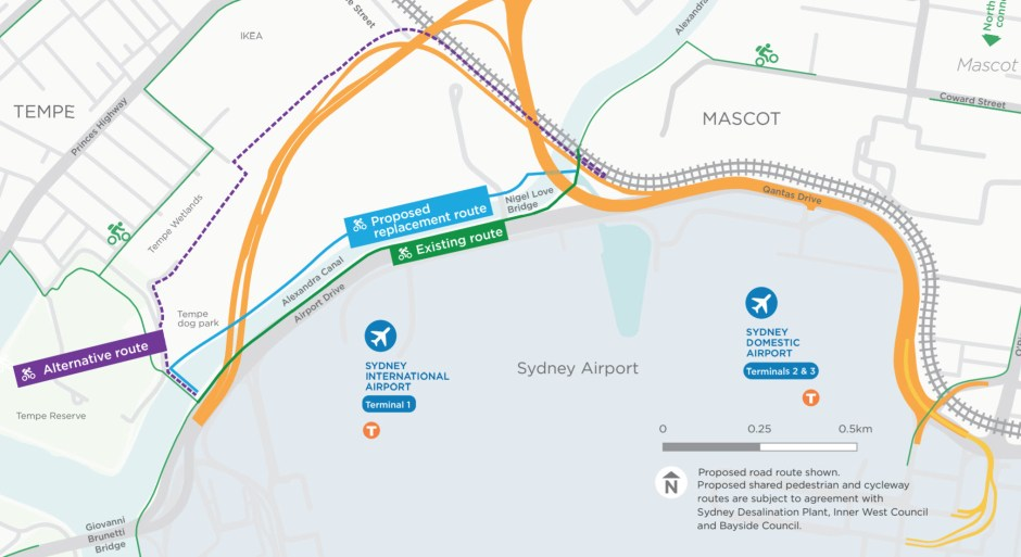 Sydney Gateway - proposed replacement walking and cycling route