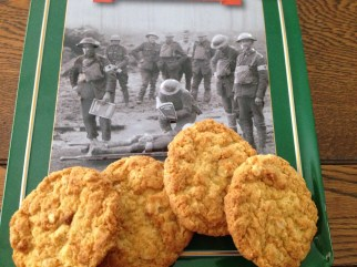 Anzac biscuits with poster of WW1 soldiers
