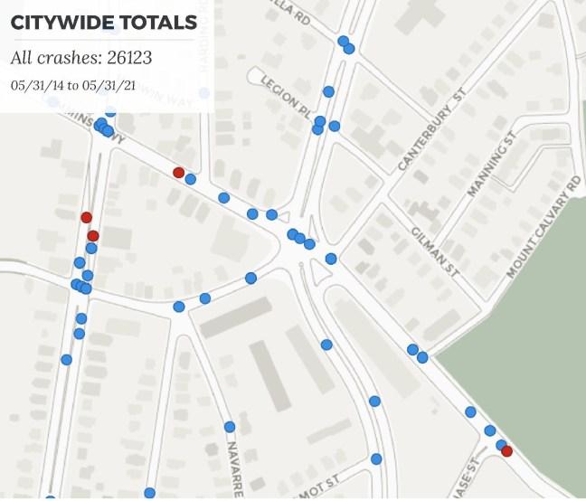 Figure 2 - Central Study Area Crash Map