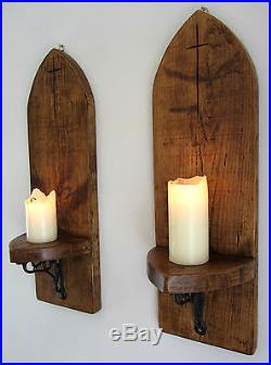 Pair Of Huge 80cm Gothic Arch Rustic Solid Plank Wood Wall ... on Wood Wall Sconces id=82916