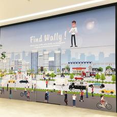 Palissade travaux jeux enfants centre commercial Nhood Cloche d'Or Luxembourg