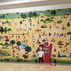 Palissade travaux jeux Wallie centre commercial